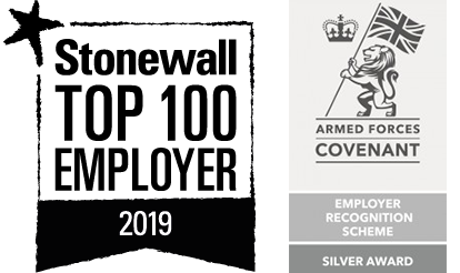 Stonewall Top 100 Employer and Armed Forces Covenant Silver Award